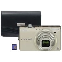 Nikon Coolpix S6000 14.2 MP Digital Camera with 7x Optical Vibration Reduction (VR) Zoom and 2.7-Inch LCD (Silver) with Leather Case and 2GB SD Card