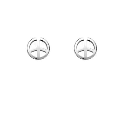 Simply Pretty Sterling Silver Plated Earrings with Charm Small Peace Symbol design(WoW !With Purchase Over $50 Receive A Marcrame Bracelet Free)