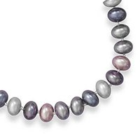Extension Silver, Peacock and Mauve Lacquered Shell Bead Necklace, Sterling Silver