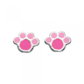 Sterling Silver Pink Enamel Paw Earrings Suitable For Children