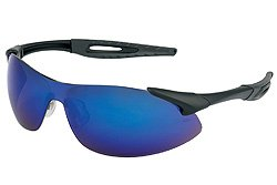 Safety Protective Glasses, Black Frame, Blue Diamond Mirror Polycarbonate Lens