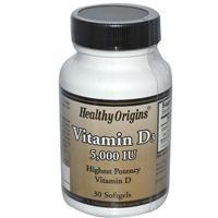 Healthy Origins, Vitamin D3, 5,000 IU, 30 Softgels