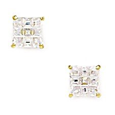 14k Yellow Gold 5mm Square Segmented CZ Screwback Earrings - JewelryWeb