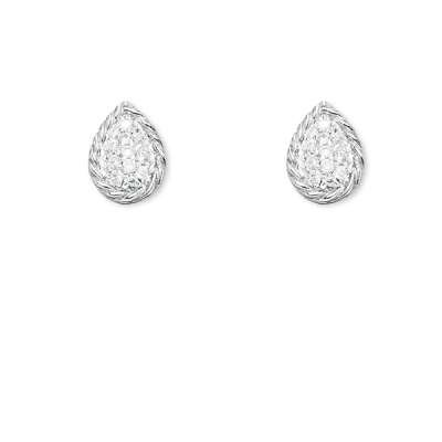New Fine Jewelry 925 Sterling Silver Stud Earrings Pear Shape Open Wire W/ Centured Clear CZ(WoW !With Purchase Over $50 Receive A Marcrame Bracelet Free)