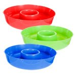 Summer Fling Colorful Plastic Chip and Dip Trays, 12