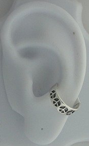Sterling Silver Left Or Right Multiple Peace Symbol Sign Ear Cuff