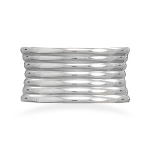 Stacked Look Band Ring 316L Surgical Stainless Steel Concave Style , 11