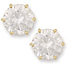 Jewelco London 9ct Solid gold studs claw-set with 10mm Solitaire cubic zirconia stone