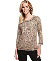 M&S Collection Animal Print Jacquard Sweat Top