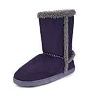 M&S Collection Secret Support™ Faux Fur Boot Slippers