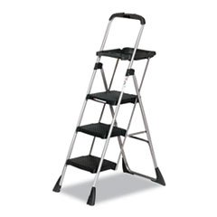 Max Work Platform Project Ladder, 225lbs Duty Rating, 22wx31dx55h, Steel, Black, Sold as 1 Each by COSCO