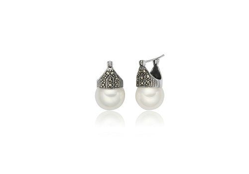 Sterling Silver + Marcasite, Pearl Earrings