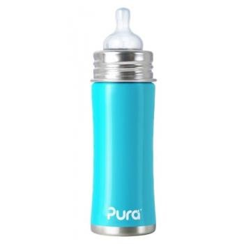 Pura Kiki Stainless Infant Bottle Stainless Steel with Natural Vent Nipple, 11 Ounce, Aqua Blue, 3 Months+