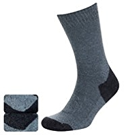 2 Pairs of Cotton Rich Medium Weight Boot Socks with Silver Technology
