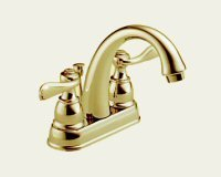 Delta Foundations B2596LF-PB Two Handle Centerset Lavatory Faucet, Polished Brass