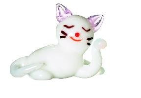 Miniature Glass Cat Figurine