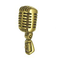 Microphone Gold Lapel Pin