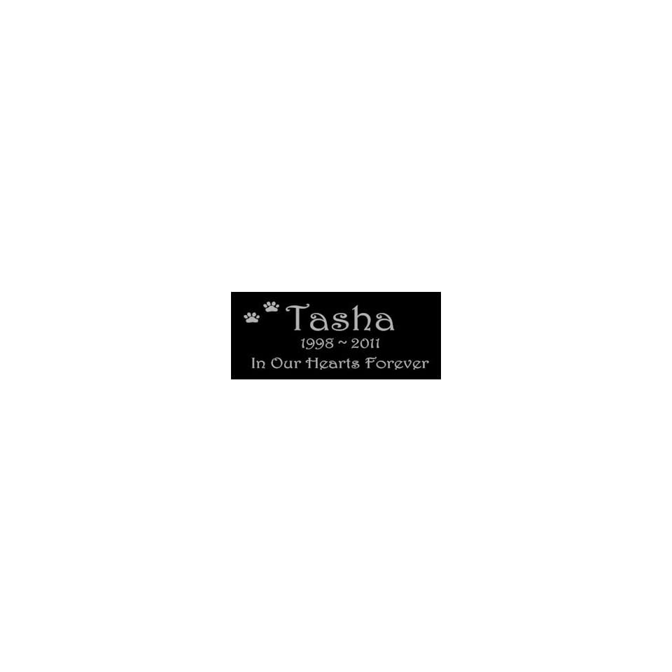 6 x 3 Lazer Gifts Personalized Black Granite Pet Memorial Marker Style Tasha
