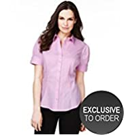 Short Sleeve Dobby Textured Shirt for Fuller Bust