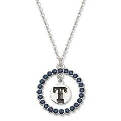 MLB Texas Rangers Necklace W/ Blue Crystal Wreath Size: 18 at Amazon.com