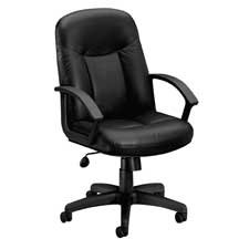 """Basyx Products - Managerial Mid-Back Chair, 26""""x33-1/2""""x43"""", Black Leather - Sold as 1 EA - Managerial mid-back chair is upholstered in black leather. Functions include pneumatic seat-height adjustment, 360-degree swivel, tilt, tilt tension and tilt lock. Design includes a black frame made of heavy-gauge steel and urethane loop arms. Five-star plastic base has 2"""" hooded dual-wheel carpet casters. Seat measures 20-1/2"""" wide x 18-1/4 deep"""" x 17-7/16"""" to 20-15/16"""" high from the floor. Back size is"""