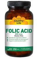 Country Life - Folic Acid 800 Mcg. - 250 Vegetarian Tablets