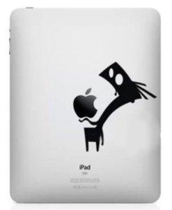 Details_in_FabricApple ipad mini用 スキンシール ステッカー 0.22mm 厚さ アクセサリー 背面用 アート 防水加工 big mouth man  decoration sticker for ipad mini  (ブラック 黒)