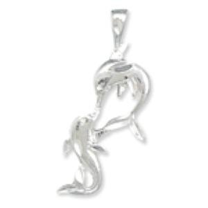 Kissing Dophins Pendant Diamond Cut Sterling Silver