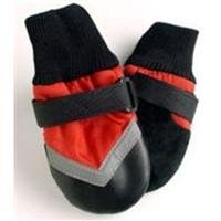 Fashion Pet All Weather Dog Boots- Black/Red, Large