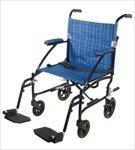 Light 14.8 lbs Medline Freedom Transport Wheelchair 300 lb Cap Chair, BLUE