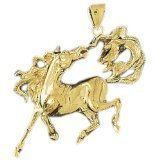 CleverEve 14K Yellow Gold Bolting Mustang Pendant with Flying Tail 17.3 Grams