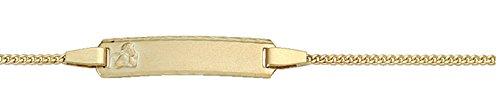 """Damen Schmuck Gold Identitätsarmband Flachpanzer / Panzerkette aus 585 Gelb Gold ( 14 cm ) mit Amor Prägung und Schrift """" Gott schütze Dich """" ( 1,4 mm ) online kaufen"""
