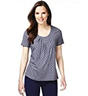 7 Pleat Tile Print Top with Stay New™