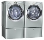 Electrolux Silver Wave Touch Steam Front Load GAS Laundry Set W/Pedestals EWFLS70JSS_EWMGD70JSS_EPWD15SS