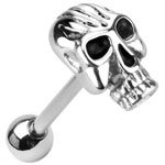 Fiery Gothic Emo Skull Top Barbell Surgical Steel Casted Tongue Bar Ring