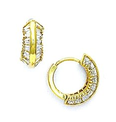 14ct Yellow Gold Baguette CZ Hinged Earrings