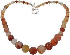Semi Precious Graduated Necklace featuring Carnelian. Orange, Silver.