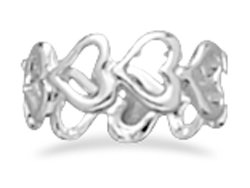 Sterling Silver Cut Out Heart Band Ring / Size 6