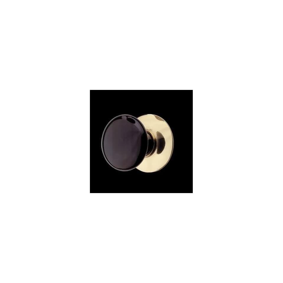 Cabinet Knob Black Porcelain Solid Brass Backplate  Renovators Supply