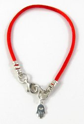 Kabalah Red Satin Cord Hamsa Bracelet, 8.0 inches