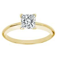 0.69 Carat F/VS2 Princess Certified Diamond Solitaire Engagement Ring in 18ct Solid Yellow Gold