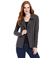 M&S Collection Pure Cashmere Zip Through Biker Cardigan