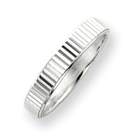 Sterling Silver 4mm Diamond-cut Band Ring - Size 10 - JewelryWeb