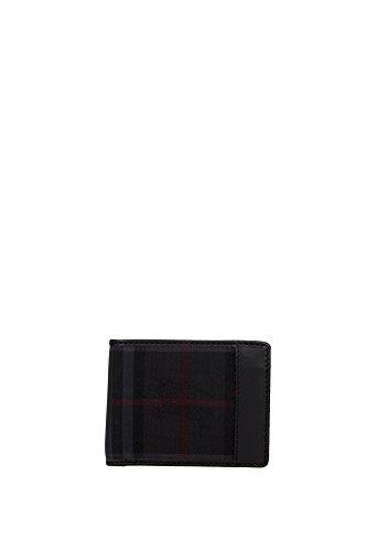 Portafogli Burberry Uomo Tessuto Nero e Rosso 3945506 Nero 8.5x10.5 cm