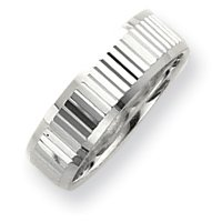 Sterling Silver 6mm Diamond-cut Band Ring - Size 11 - JewelryWeb