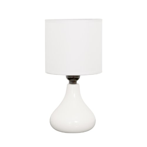 Home Design 11 Inch Mini Ceramic Table Lamp with Fabric Shade (White)