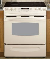 GE Profile PS900DPCC 30&#8243; Slide-In Electric Range with 4 Radiant Elements, 4.4 cu. ft. Self Clean Oven, Electronic Oven Controls, Ceramic Glass Cooktop and Storage Drawer: Bisque