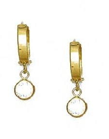 14ct Yellow Gold 5 mm Round Clear CZ Drop Hinged Earrings