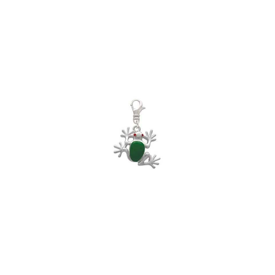 Large Green Enamel Tree Frog Clip On Charm