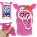 Jujeo Cute Pirate Pig Shape Silicon Headphones Winder Case For Iphone 5/5S - Non-Retail Packaging - Magenta